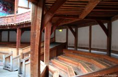 Seating at Shakespeare's Globe Theatre, London.