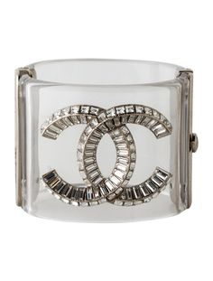 From the Spring Collection. Clear Lucite Chanel hinged cuff with silver-tone hardware, baguette and square crystal embellished CC at front and signed CC push lock closure. Cuff Bracelets, Bangles, 50 Shades Of Grey, Perfect For Me, Spring Collection, Leather And Lace, Chanel, Jewels, Crystals