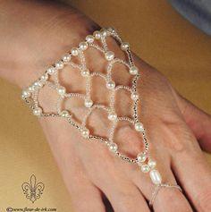Bridal net bracelet B264 by ~Fleur-de-Irk on deviantART