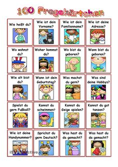 100 questions on different topics – the cards can be cut out and la … - Karfreitag German Grammar, German Words, German Resources, Deutsch Language, Kindergarten Portfolio, Germany Language, Languages Online, German Language Learning, Learn German