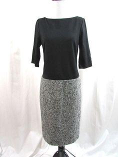 Talbots Black Ponte Combo Wool Blend Tweed Dress Career Size 4 Career Excellent…