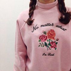 Vintage fleece Rose Embroidery sweater high collar AMO