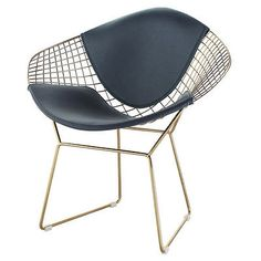 Wire Mesh Bertoia Style Diamond Chair In Gold Finish - Black Pads Living Room Furniture Sale, Living Room Furniture Arrangement, Furniture For Small Spaces, Living Room Chairs, Mesh Chair, Counter Design, Wire Mesh, Counter Stool, Gold Set
