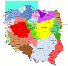 historical regions in Poland Poland Map, The Old Curiosity Shop, Visit Poland, Historical Maps, Ancestry, Genealogy, Folk, Russia, Ethnic