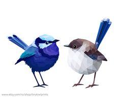 Blue Fairy Wren Couple by tinykiwi.deviantart.com on @deviantART