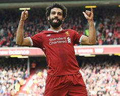 Mohamed Salah of Liverpool celebrates scoring their first goal during the Premier League match between Liverpool and Burnley at Anfield on September 2017 in Liverpool, England. Salah Liverpool, Liverpool Fc, Liverpool England, Mo Salah, Mohamed Salah, Premier League Matches, Burnley, Everton, Goalkeeper