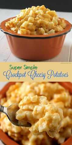 Super Simple Crockpot Cheesy Potatoes / myfindsonline.com