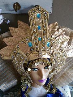 Adornado oro Elizabeth Taylor inspirado corona Cleopatra estilo moda tocado egipcio tocado traje sombrero diadema