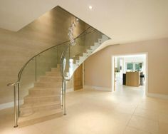 Limestone staircase in Ponteland, Newcastle. Fabricated to clad a steel frame manufactured by Clifford Chapman Metalworks.