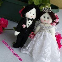 Felt bride and groom