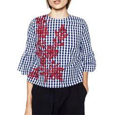 New Europe Lady Plaid Shirt Half Flare Sleeve Fashion Embroidered Haut Femme Blusa De Renda X6497