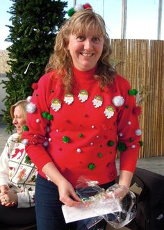 red 3D ugly Christmas sweaters, women ugly Christmas sweater with  santa, bobbles tinsel ugly christmas jumper #3D #ugly #Christmas  #sweaters www.loveitsomuch.com