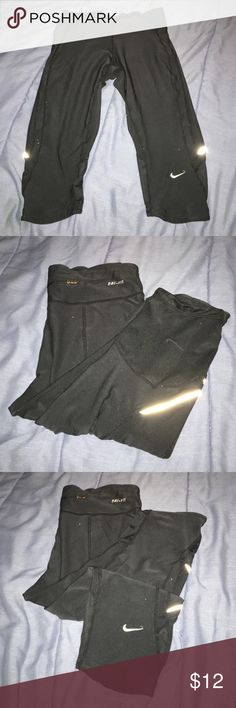 Nike capris, in good condition hardly worn. White speckles is from my camera. Polyester/spandex bottom of capris is mesh. Has a zipper pocket it the back. Nike Pants Capris