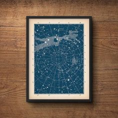 Star chart print, Star map print, Constellation print, Nautical decor, Star chart poster, Constellation art, Astronomy art, Nursery art