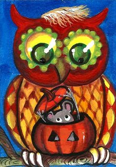 Electronics, Cars, Fashion, Collectibles, Coupons and Whimsical Owl, Whimsical Halloween, Halloween Owl, Halloween Pumpkins, Happy Halloween, Owl Pumpkin, Owl Art, Paper Clay, Macabre
