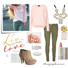 Romantic pastel outfit paired with floral statement necklace and love ring.