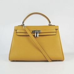 000b242153f5 Hermes bags and Hermes handbags Hermes Togo Leather Kelly Bag Yellow with  Silver Hardware 302