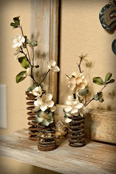 Use old springs for flower holders.