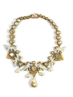 Rare Early Vintage Christian Dior Renaissance Cherub with Pearl Dangles Necklace