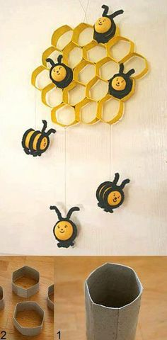 Reuse toilet paper rolls and make a cute wall decoration