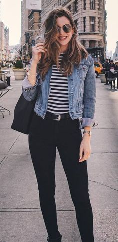 casual style perfection_denim jacket bag striped top black skinnies