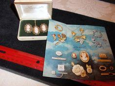 Krementz cameo necklace & earrings/original box #Krementz