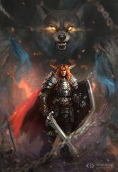 Loki and Fenrir (Ragnarok) by IcedWingsArt