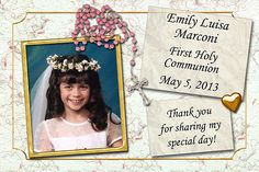 Idea for First Communion Favors - Personalized Photo Magnets - available in 2 x 3 inch or 3 x 4 inch sizes, pink or blue rosary. More communion favors at http://www.photo-party-favors.com