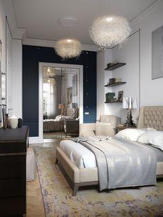 дизайн спальни с встроенным шкафом с стеклянными дверями