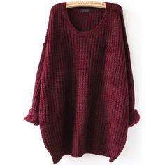 SheIn(sheinside) Red Batwing Long Sleeve Loose Knit Sweater