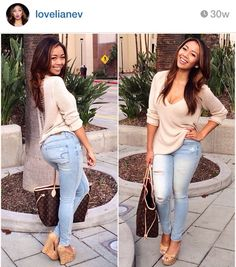 @lovelianev ripped jeans and sweater