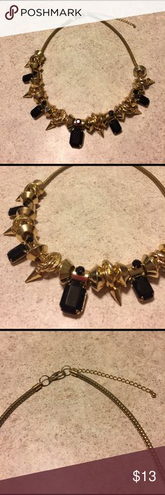 """Chunky Spikey  Gold Tone Slide Charm Necklace Fun spikes and charms with black jet stones. Slide on all gold thick snake chain. Overall length 18""""inches with a 3"""" inch extender 😀 in excellent condition ❤️ Jewelry Necklaces"""