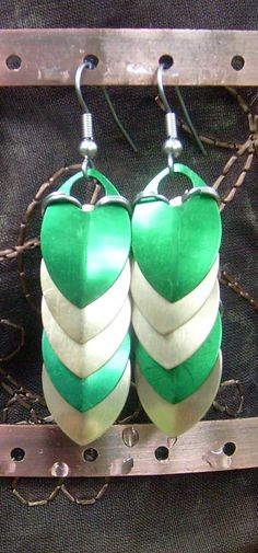 Green and Gold Dragonscale Dangle Earrings via https://www.etsy.com/shop/AndraCassidy