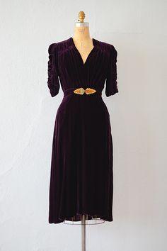 1930s royal purple velvet ruched dress.