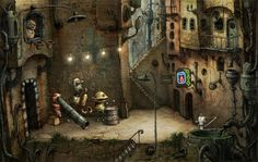 Machinarium -   Machinarium is our first full-length adventure game in which players take on the role of a robot who has been exiled to the scrap heap. Players must use logic, collect important items, and solve environmental puzzles to get the robot back into the city of Machinarium so he can rescue his robot-girlfriend, save the head of the city, and defeat the bad guys from the Black Cap Brotherhood.
