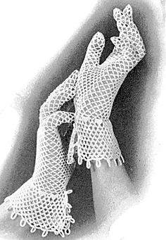30s Vintage Crocheted Lattice Loop Lace Gloves Pattern . Click on the image for more information.