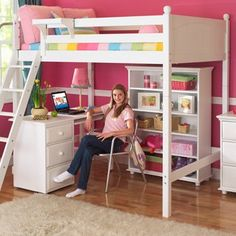 Wooden Loft Beds for Teenagers | Wooden Loft Bed With Desk & Extra Storage Drawers in White ~ Full Size