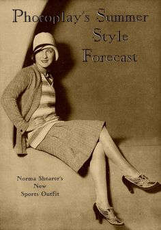 Norma Shearer's New Sports Outfit, Photoplay Magazine, June 1929. #vintage #1920s #fashion #actresses