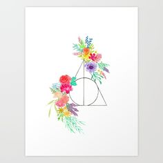 Deathly Hallows Floral Art Print - The Illustrai