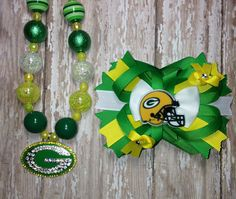 Green Bay Packers NFL football inspired hair bow by PintSizePosh