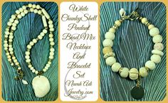 Adorn your outfit in bold beautiful combinations of carved white bone and wood beads. Accents of bright gold textured metals and mini shell charms add a touch elegance and fun
