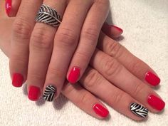 Red/black/white solid zebra nails #sittingpretty Zebra Nails, Red Black, Black And White, Pretty Nails, Beauty, Black White, Beleza, Blanco Y Negro, Black N White