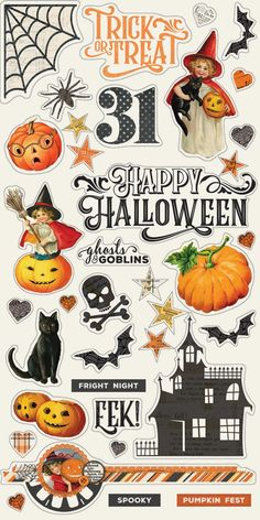 Simple Vintage Halloween Chipboard by Simple Stories for Scrapbooks, Cards, & Crafting 37 Chipboard Stickers Halloween Paper Crafts, Halloween Clipart, Halloween Prints, Halloween Stickers, Halloween Art, Halloween Costumes For 3, Halloween Rocks, Halloween Scene, Halloween Projects