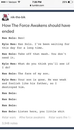 Han Solo's getting bad . - Star Wars Episode VII: The Force Awakens alternative ending Star Wars Meme, Star Trek, Star Wars Personajes, Cw Series, The Force Is Strong, Bad Feeling, Love Stars, Geek Out, Long Time Ago