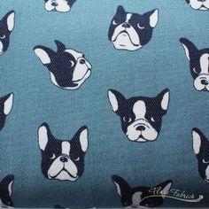 Kokka, Bull Dogs on Blue, DENIM CANVAS