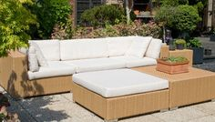 java collection - All-weather outdoor rattan in honey coloration with cream cushions.  This modular collection consists of corners, armless, ottomans, coffee tables and chaise chillouts.