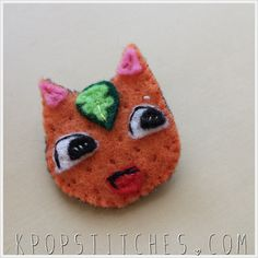 Animal Crossing Tangy handmade pin brooch Hand embroidered felt pin with finished back of Animal Crossing neighbor townsfolk townie Tangy.
