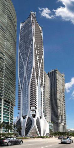 EFE/ONE THOUSAND MUSEUM - Representação do edifício One Thousand Museum, que se encontra em construção em Miami (EUA) - o primeiro prédio residencial projetado por Zaha Hadid no continente americano