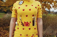 Fantastic Mr. Fox Felicity Fox Dress - Costume  Hand Screen-printed dress, custom sewn for gigantic 6 foot tall me. I heart Wes Anderson maybe.
