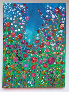 Original Abstract Flowers Painting Acrylic Textured on 12x9in Canvas Heather Montgomery Art. $45.00, via Etsy.